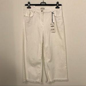 Zara white fringe crop culottes